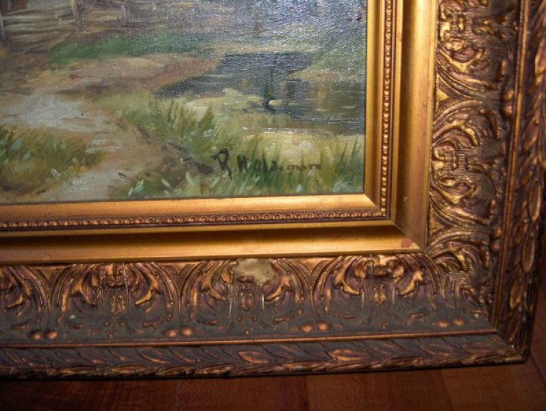Signatuur en waarde gevraagd boerderij schilderij - Associatie van kleur e geen schilderij ...